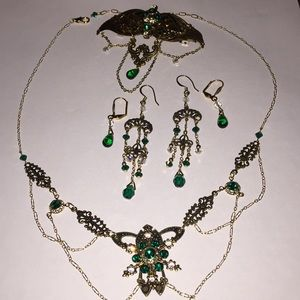 Jewelry - 6pc set earring necklace hairclip green rhinestone